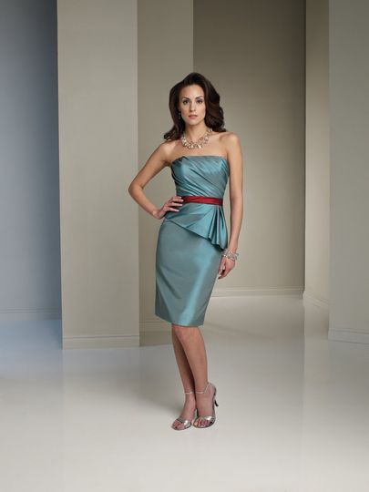 Style No. BY21113T  Strapless taffeta knee-length sheath, side draped bodice with asymmetric peplum...