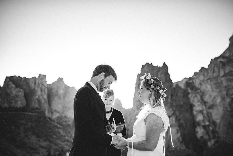 Wedding by the mountains