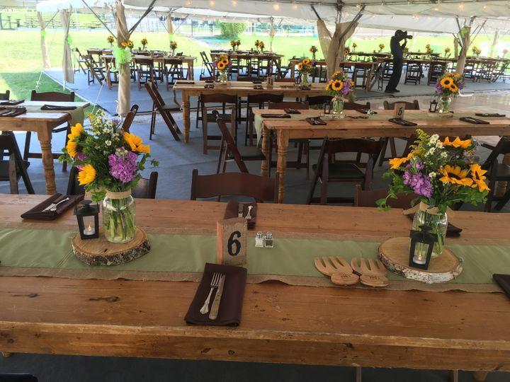 Country wedding, farm tables, burlap, wood coasters, lanterns