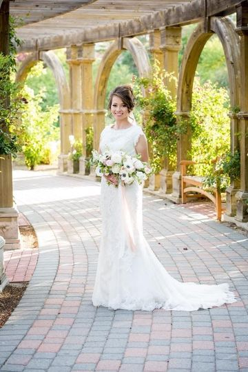 Bride on walkway