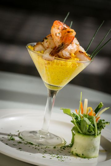 Appetizer course option of Saffron Risotto with Shrimp and Scallops