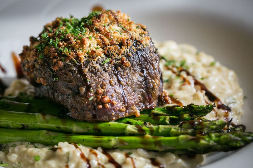 Entree choice, a Blue Cheese Crusted Filet Mignon