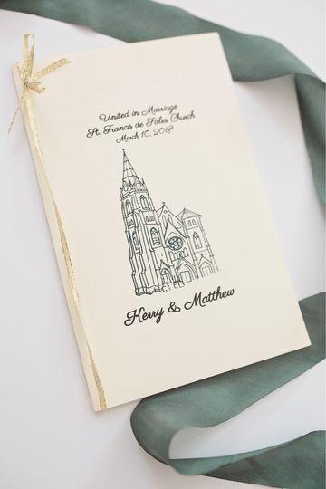 Wedding program with church