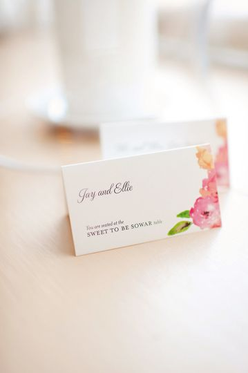 Place cards with florals