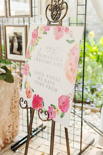 Wedding signage with florals