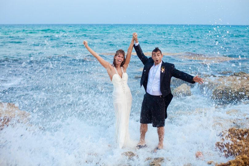 Newlyweds with the waves