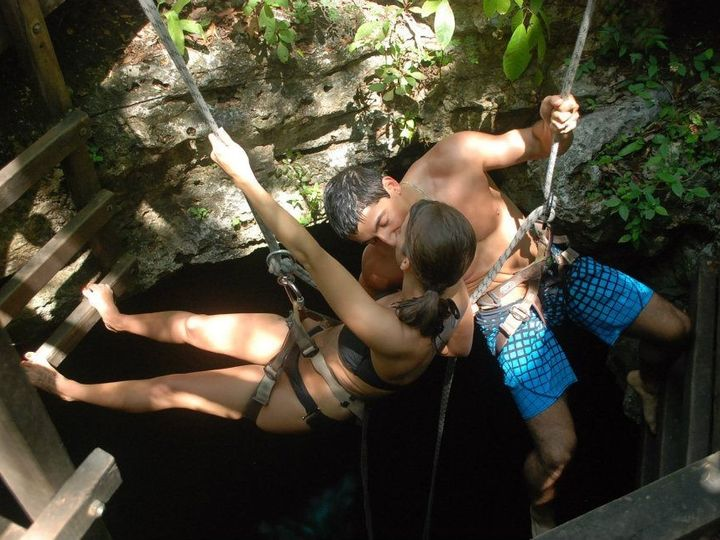 Tmx 1377807782898 Amber  Kaan Propelling Into Cenote Copy Portage wedding travel