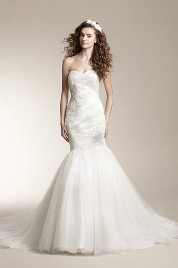 F151003	Romantic mermaid gown with sweetheart neckline and beaded accents on bodice. Dress features...