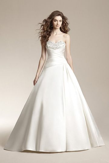 F151005	Classic ball gown with a-symmetrical waistline, pleated bodice, and beaded embroidered...