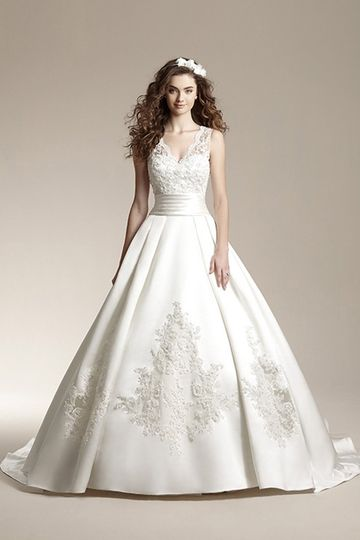 F151007	Classic ball gown with beaded lace overlay on bodice, v-front and back neckline with scallop...