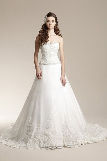 """F151008""""A-line gown with lace bodice and beaded trim on front and back waist and neckline. Skirt..."""
