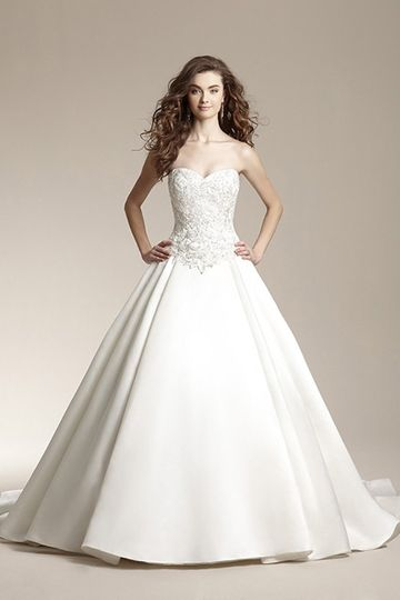 """F151009""""Traditional ball gown with pleated skirt and sweetheart neckline.  Dress features beaded..."""