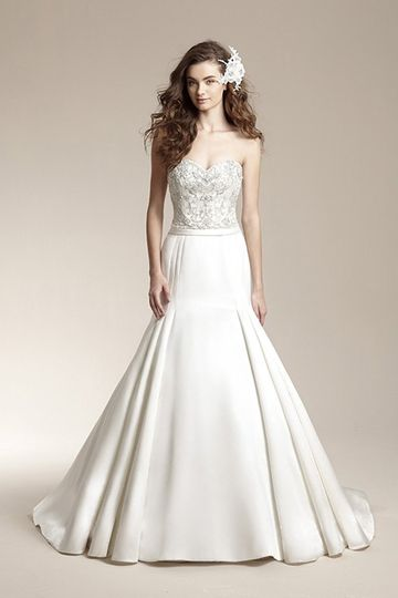"""F151011""""Satin mermaid gown with unique seam details on skirt, satin waistband, and full beaded..."""