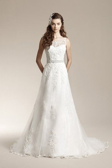 F151012Romantic tulle gown with scallop hem, beaded waistband, lace appliques on skirt, sheer lace...