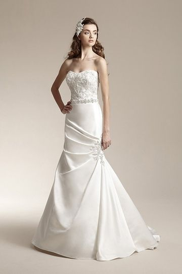 F151016Formal mermaid gown with beaded lace applique on gathered skirt, attached beaded waistband,...