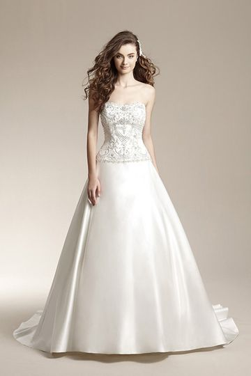F151017Satin ball gown with seamless front skirt, pick-ups on back train, and beaded design on...