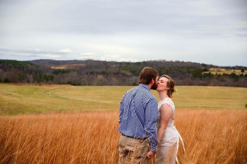 Couple's scenic wedding shot