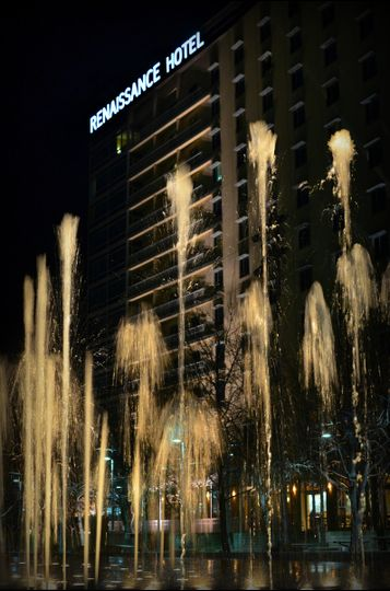 exterior with fountains night 1