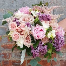 Really gorgeous vintage bouquet with Fresh Lilacs, Peonies, Roses, Astilbe, and Freesia, perfect for...