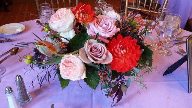 Tmx 1395846339345 Dahlia And Dusty Lavender Centerpiece Lr Kingston, New York wedding florist