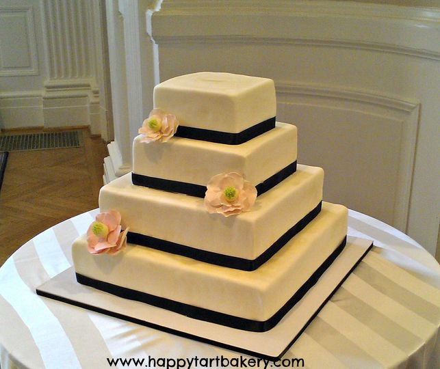 rectangular magnolia wedding cak