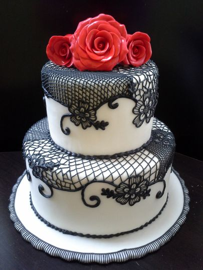 Gluten Free Fondant Wedding Cake with Black Lace and Red Gumpaste Roses