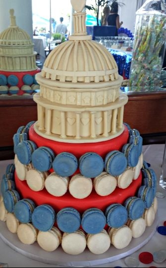 macaron wedding cake with modeling chocolate capit