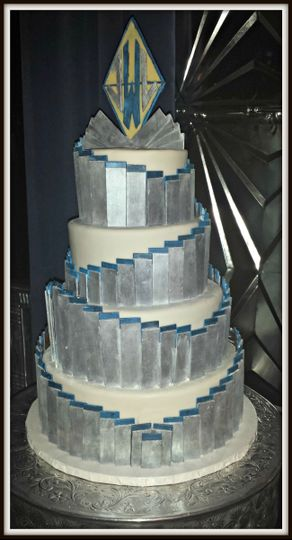 silver and blue art deco cake