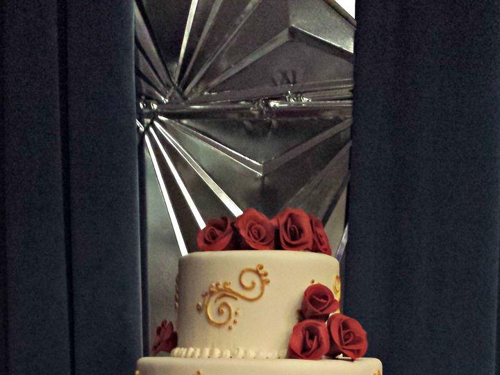 Tmx 1391456150936 Gold Scrollwork Wedding Cake With Red Rose Falls Church, VA wedding cake