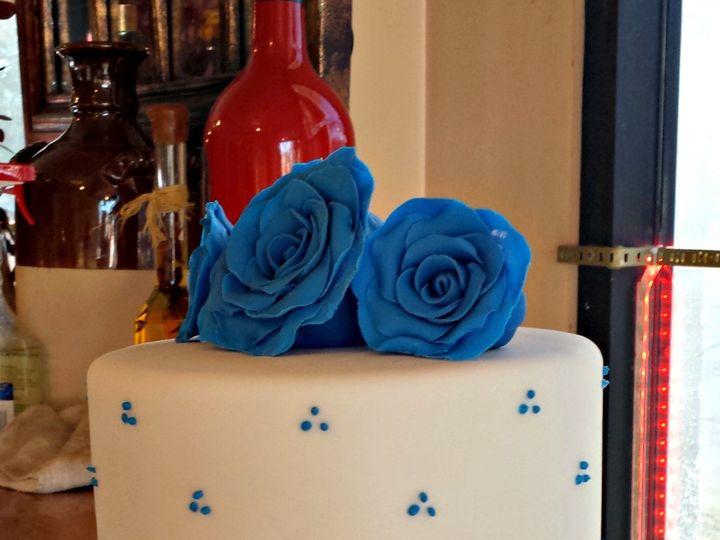 Tmx 1396797847607 White Fondant Wedding Cake With Royal Blue Gumpast Falls Church, VA wedding cake