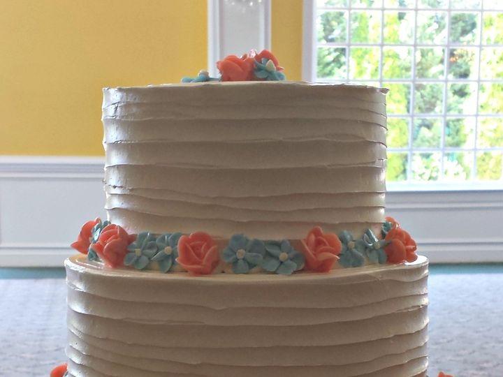Tmx 1404062208377 Dragged Buttercream Cake With Peach Roses And Forg Falls Church, VA wedding cake