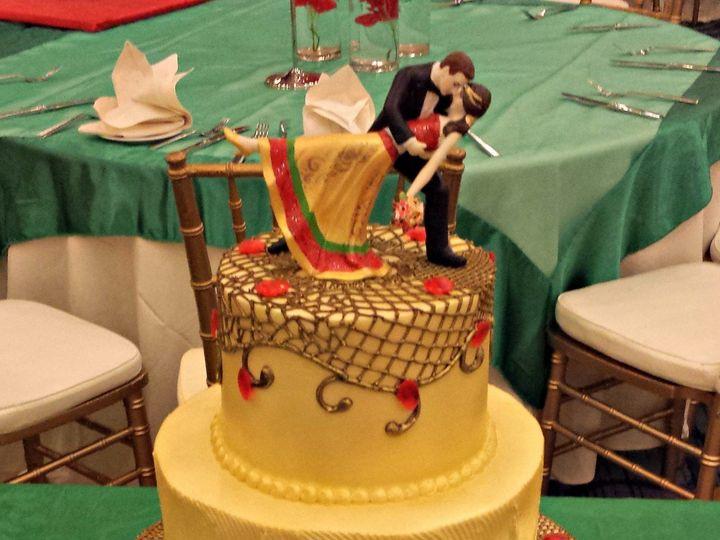 Tmx 1404062268224 Gold Painted Buttercream Wedding Cake With Net Pip Falls Church, VA wedding cake