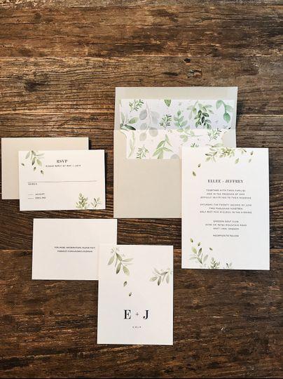 Simple Leafy Invitation Design