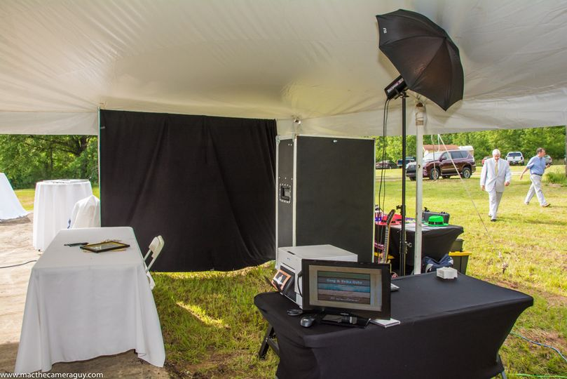 Open format Photo Booth in a field running on a generator.
