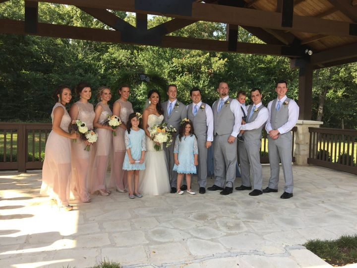 With the bridesmaids and groomsmen