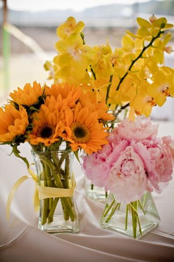 Centerpiece Cluster of Sunflowers, Peony and Orchids