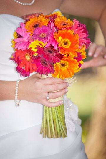 Multi-Colored Gerbera Daisy Bridal Bouquet