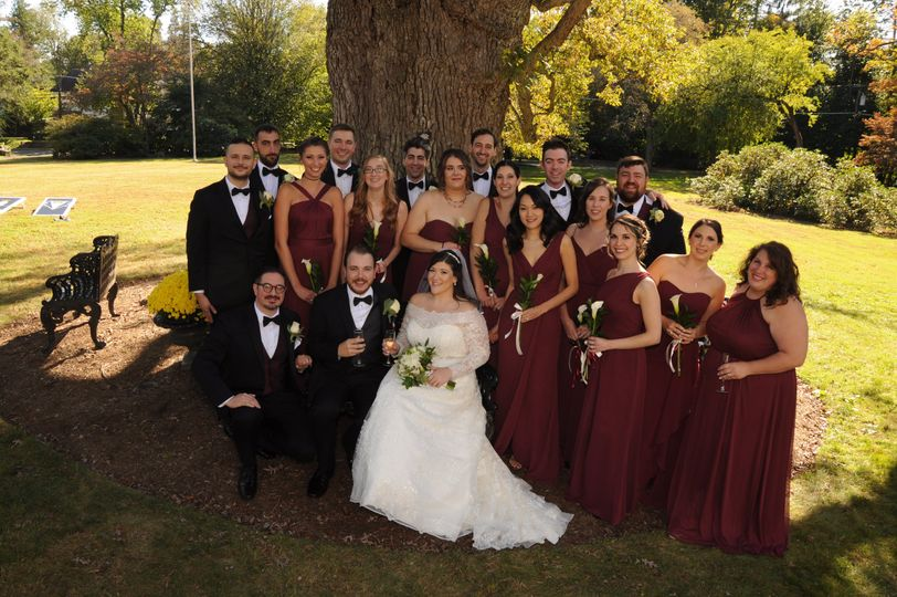 Couple & Bridal Party Outdoors
