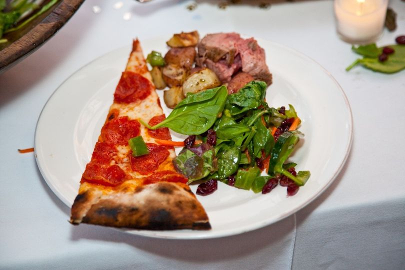Pepperoni pizza and salad