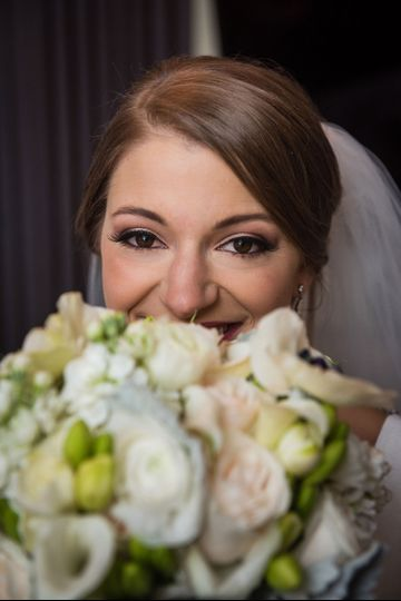 Bride with rosy cheeks