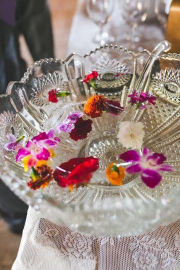 Floral ice water in vintage crystal bowl