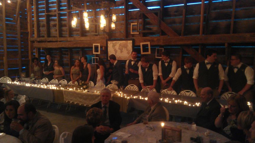 Taken at one of our first barn weddings. Small space, but rocked the crowd.
