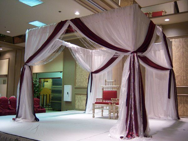 White and deep red drapes