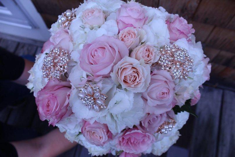 Flowers with diamonds