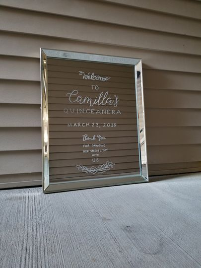 Quinceanera Party Mirror Sign