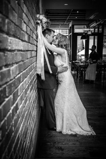 Bride and Groom along wall