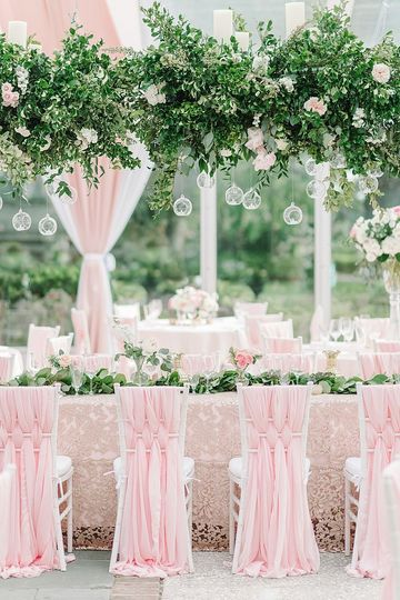 Pink long tables
