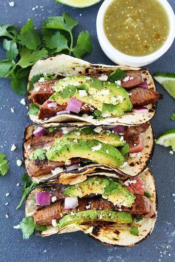 Tacos with sliced avocado