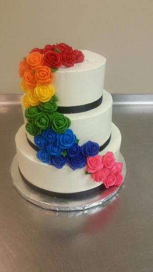 Rainbow sugar flowers