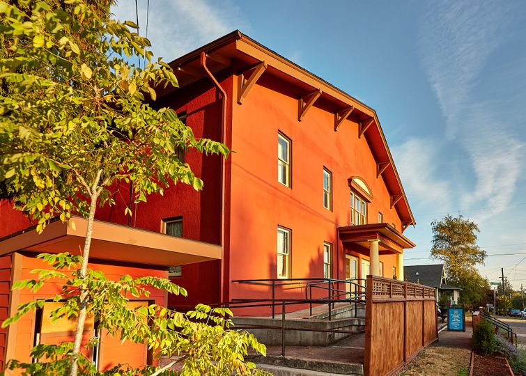Cerimon House at 5131 NE 23rd Avenue in Portland, Oregon.  The front of the building offers an ADA...